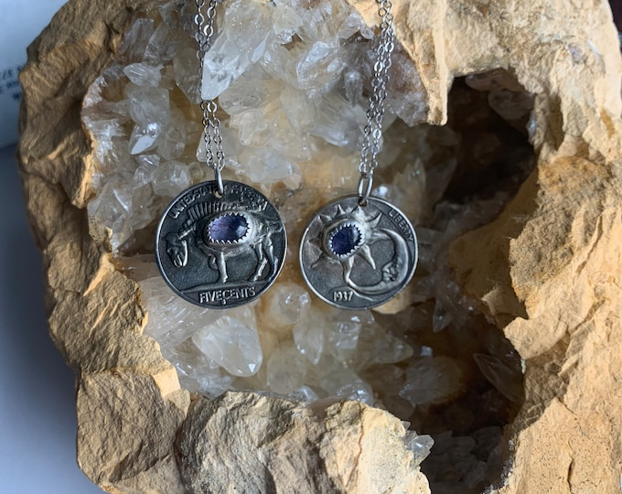 Sun and Moon Hobo Nickel coin necklace, Tanzanite, Made to order