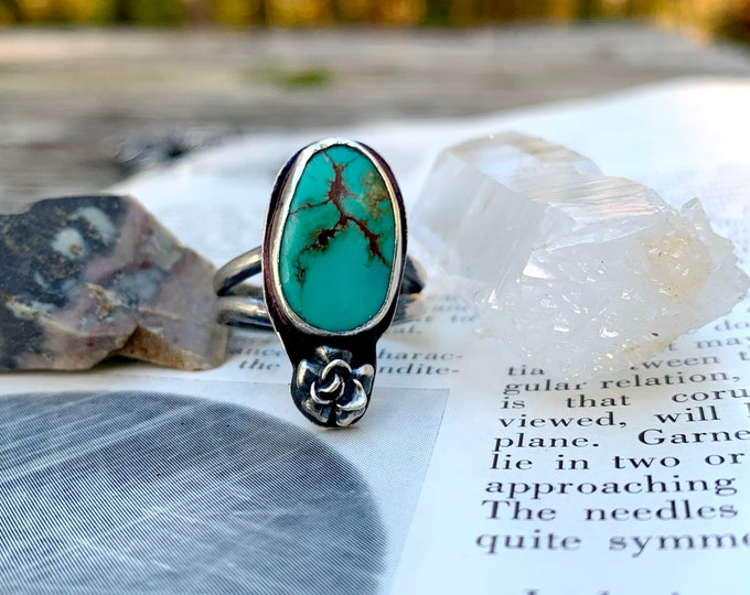 Dan River Ring // Size 8-8.25 // Handmade Turquoise Ring // TURQUOISE Sterling Silver ring