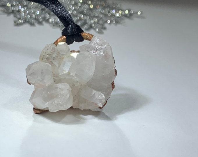 Winter Wonderland Crystal Quartz Necklace // Electroformed Crystal Quartz // Copper