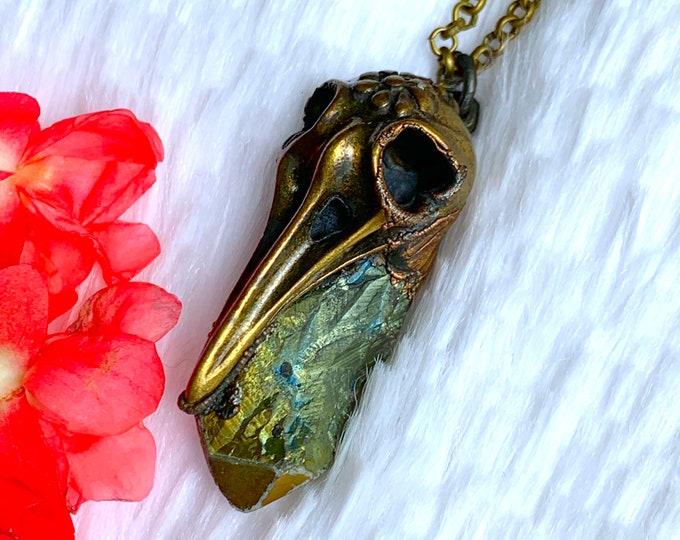 Nevermore// Electroformed Raven + Cobalt Aura Crystal // Handmade Necklace