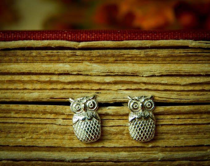 Wisdom Studs, Owl Sterling Silver Studs