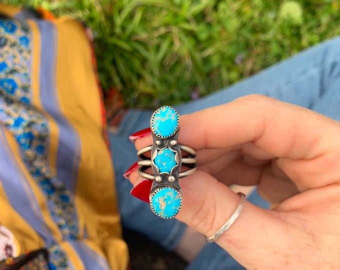 Three, Triple Turquoise Statement Ring, size 8, Sterling Silver, Handcrafted