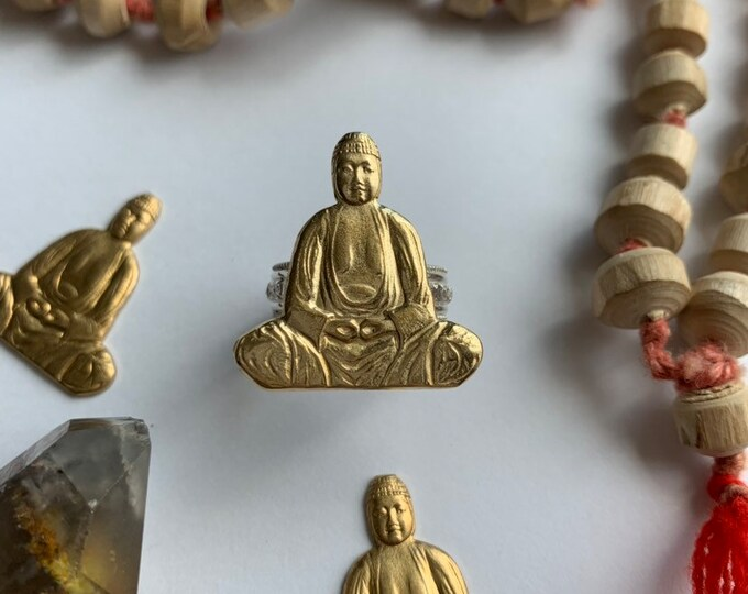 Calming Buddha Mixed Metals Statement Ring, made to order in YOUR size