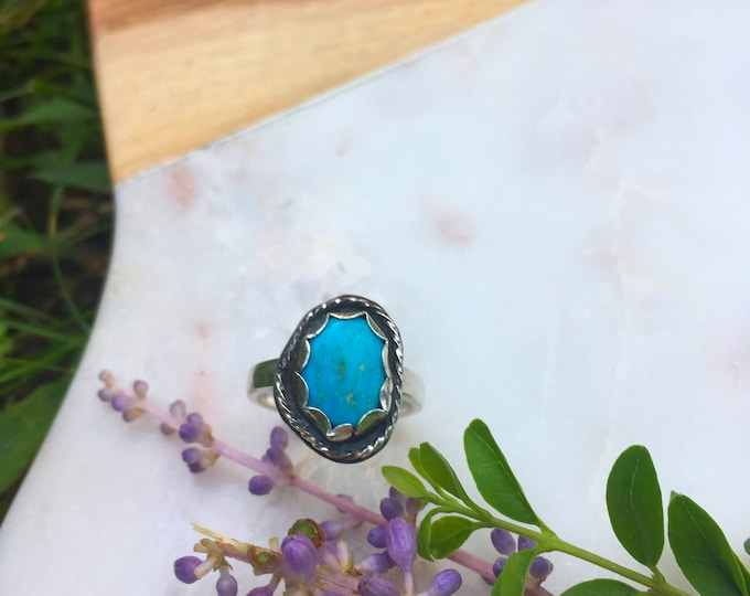Dainty Blue Collection - Turquoise Sterling Silver Ring, Handcrafted size 6