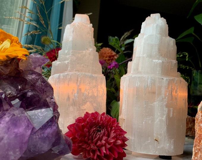 Selenite Lamp // FREE SHIPPING // Crystal Decor // Energy // Bohemian DECOR