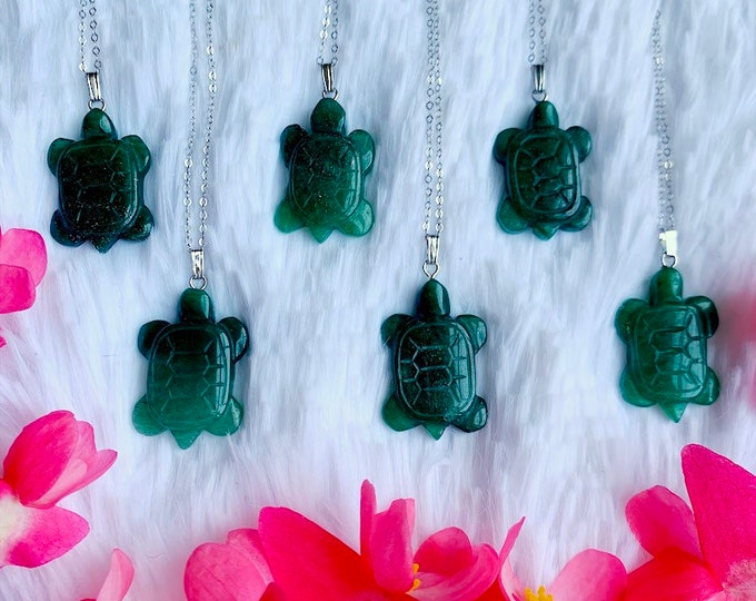 TURTLE Necklace // Green Aventurine // Sterling Silver // CRYSTAL Necklace