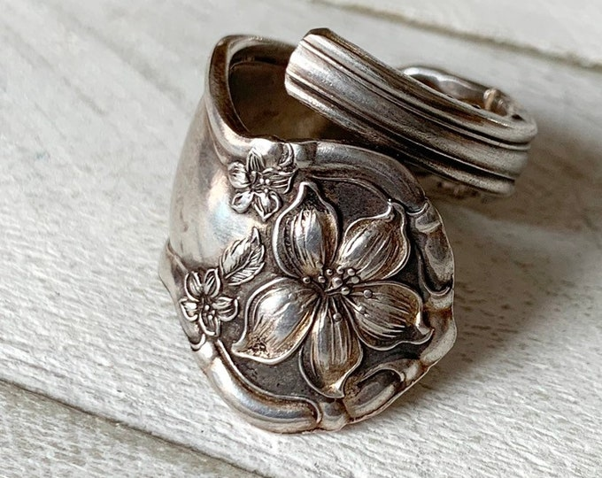 Orange Blossoms // Handmade Spoon Ring // Sterling Silver plate // YOUR SIZE