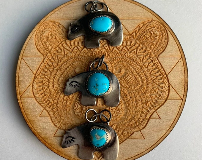 MAMMA BEAR // Zuni Bear Protection necklaces, Turquoise, handmade, Sterling Silver