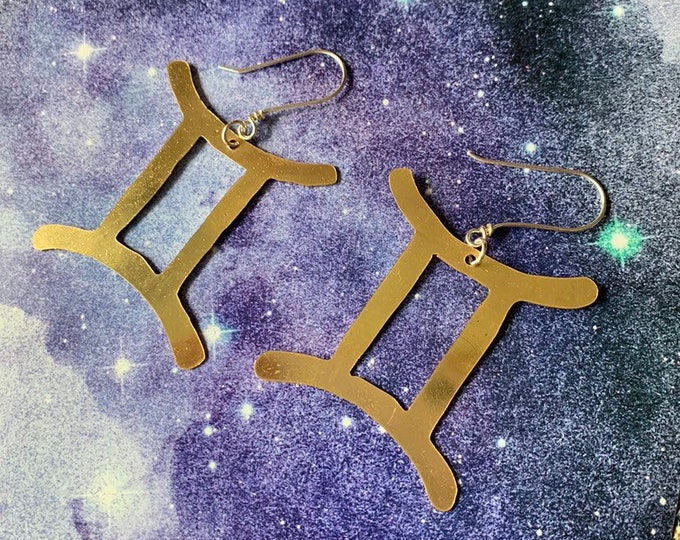 Zodiac Earrings, made to order, brass handcrafted