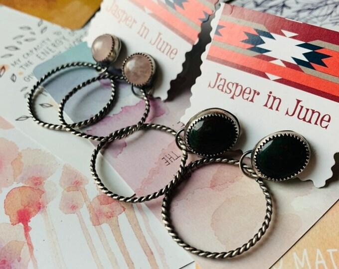 Gemstone Hoops // Sterling Silver // Bloodstone // Rose Quartz