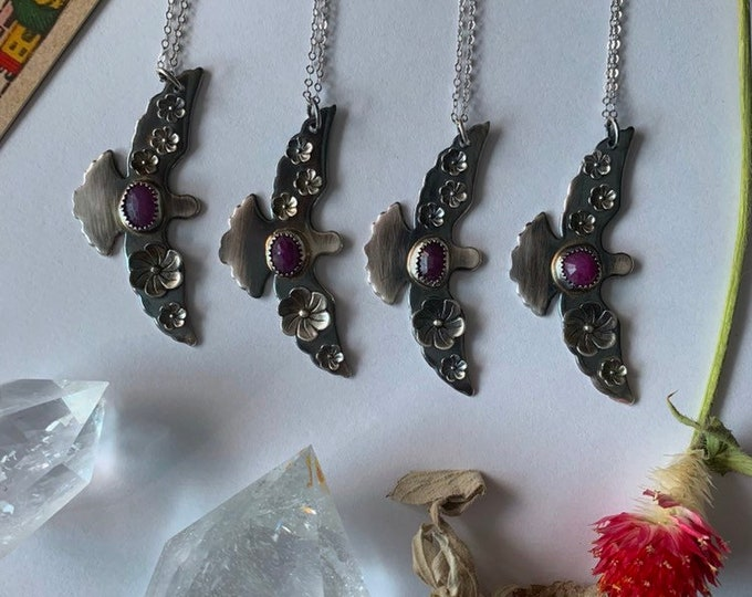 Spirit Birds, Maiden, Mother, Crone Collection, handcrafted with natural Ruby and sterling Flowers