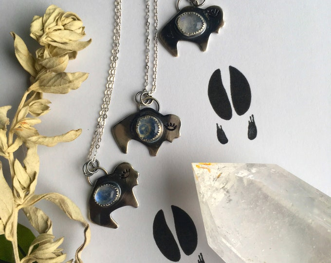 Buffalo and Moonstone, Sterling Silver, Handcrafted