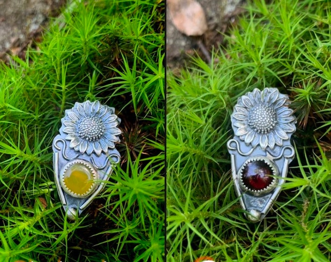 Sunshield || Sterling silver rings, hand crafted, garnet, chalcedony