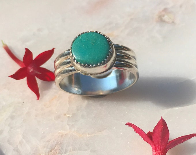Dainty Blue Collection- Turquoise Sterling Silver Ring, Handcrafted, Size 8