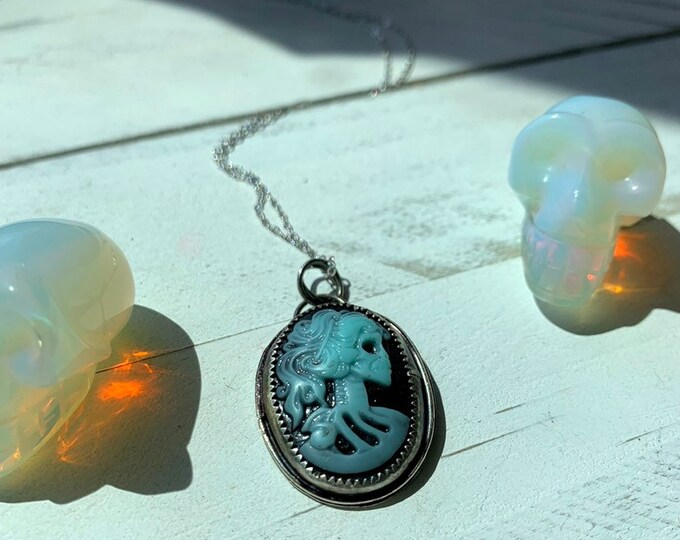 Haunted // Handmade Cameo Necklace // Sterling Silver // Skeleton Cameo