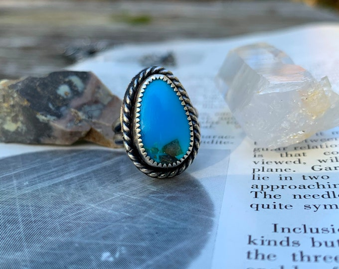 Dan River TURQUOISE Ring // Handmade TURQUOISE Sterling Silver ring // size  6.5 // unisex
