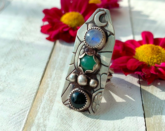 MOON Goddess Totem Sterling Silver Ring// Triple Stone Statement Ring // Size 6.5 // Handmade