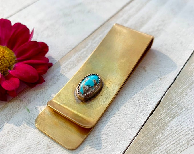 Handcrafted Nevada Blue Turquoise MONEY CLIP// Handmade // Copper // Turquoise // Free Shipping