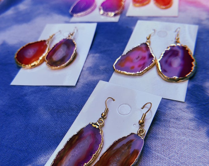 Agate Earrings, Pink Agate Dangle Earrings