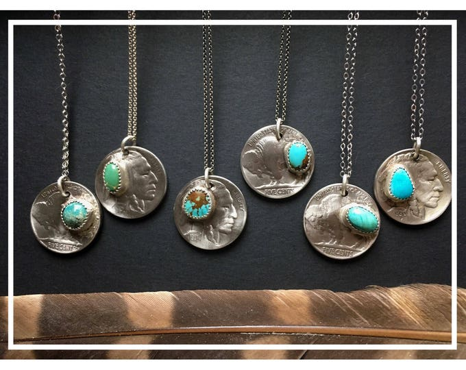 Buffalo Nickel with Turquoise, Sterling Silver, Handcrafted, Coin Jewelry