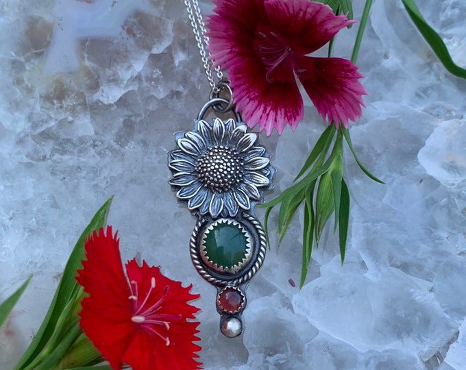 SUNFLOWER Sunshine Tournesol, handcrafted sterling silver necklace, Garnet, Nephrite Jade// READY to SHIP