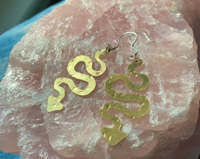 Summer Snake Earrings, Brass, Hand carved dangle earrings, Made to order