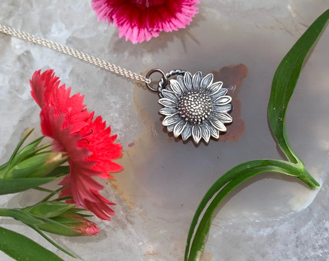 SUNFLOWER Tournesol Necklace//handcrafted; sterling silver, sunflower necklace MADE to order