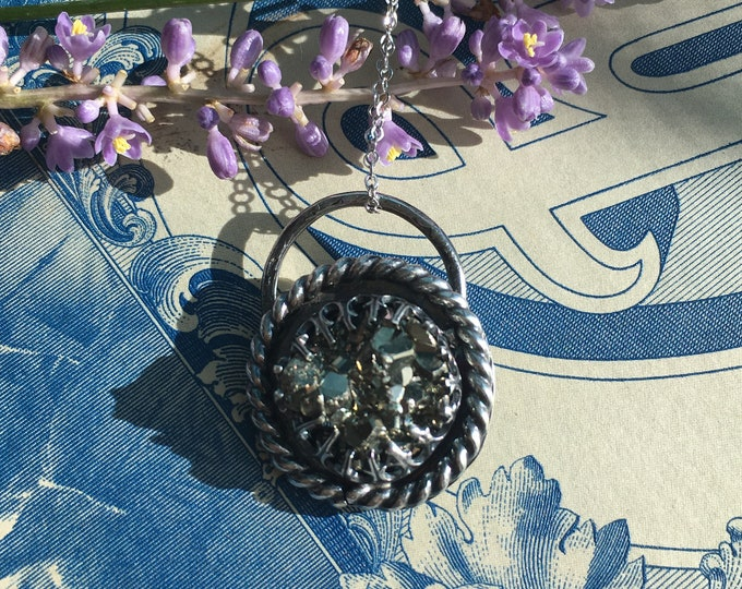 Shine - Pyrite Druzy Necklace, Handcrafted,