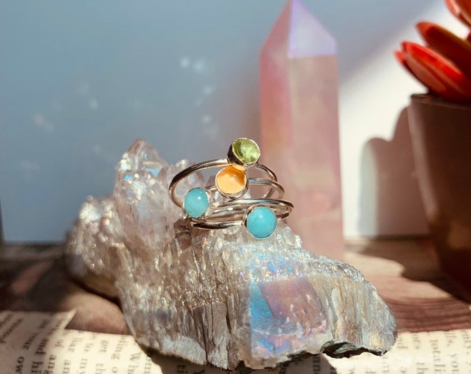 Handcrafted Gemstone Stacker Rings, made to order