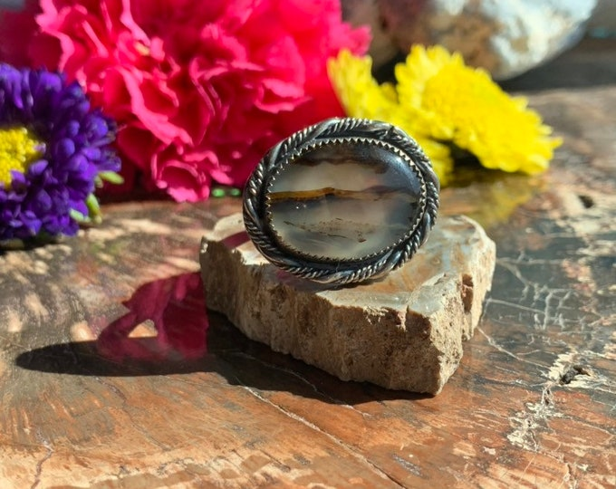Montana Agate ring, Handcrafted, size 10.5
