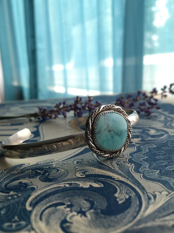 Handcrafted Whitewater Turquoise Bangle, M-L