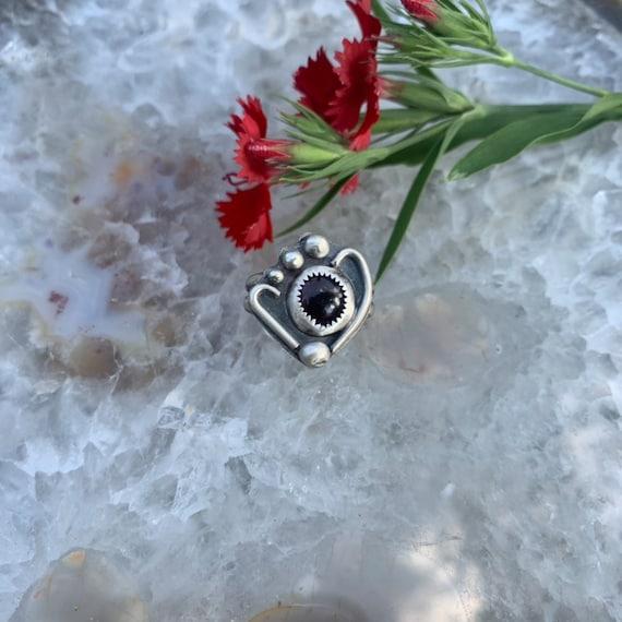 Garnet Navigator, sterling silver handcrafted ring, size 6.75