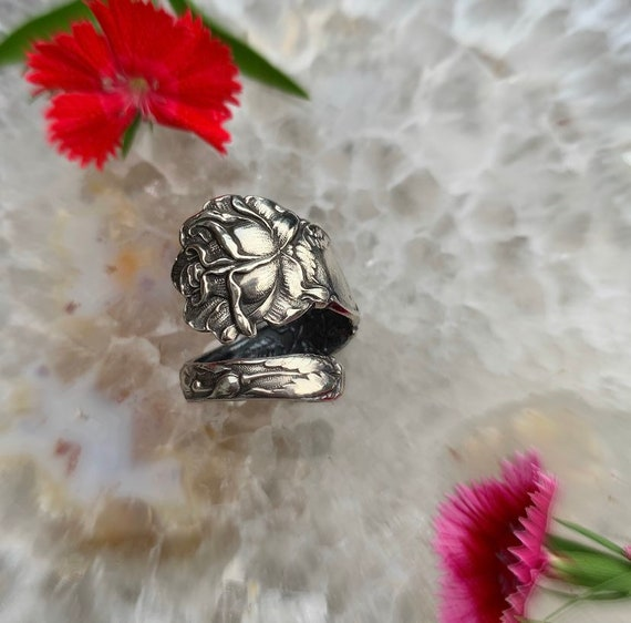 Alvin Bridal 'rose' 1903 coffee spoon ring, upcycled, made to order in your size