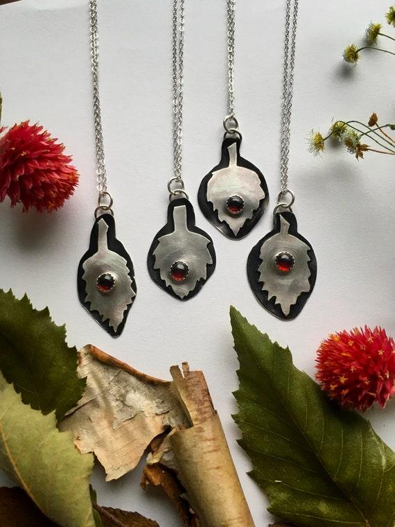 Healing Leaf Pendants, Garnet, Sterling Silver, Handmade