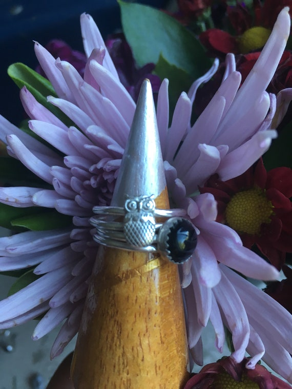 Stacking Rings, Made to Order, Onyx and Owl