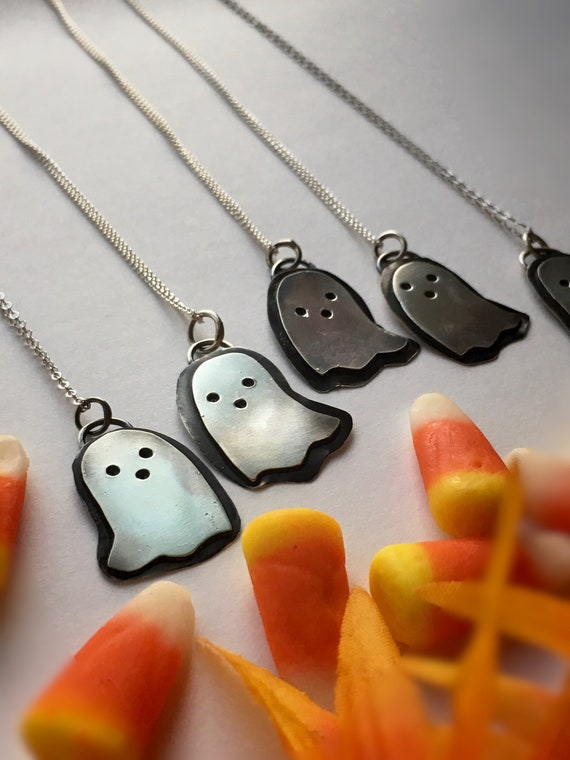 Made-to-Order, Boo Ghosts, Handcrafted Sterling Silver Necklace, Halloween