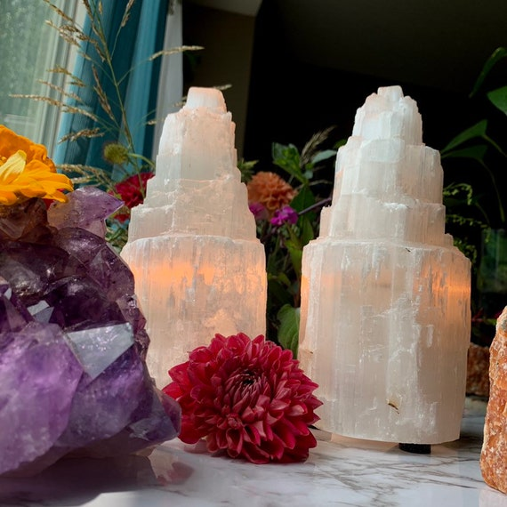 Selenite Lamp // FREE SHIPPING // Crystal Decor // Energy // Bohemian DECOR