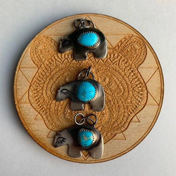 Zuni Bear Protection necklaces, Turquoise, handmade, Sterling Silver