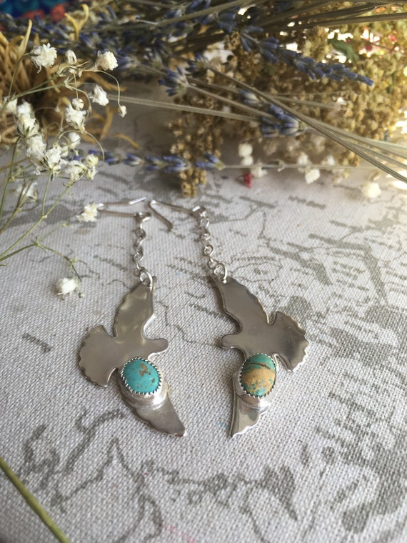 Luyu, Wild Dove Sterling Silver Drop Earrings, Dangle Earrings, Turquoise
