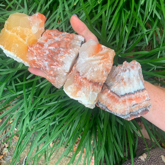 Orange // RED Rainbow Calcite * Crystal Healing * Reiki * Bohemian Decor
