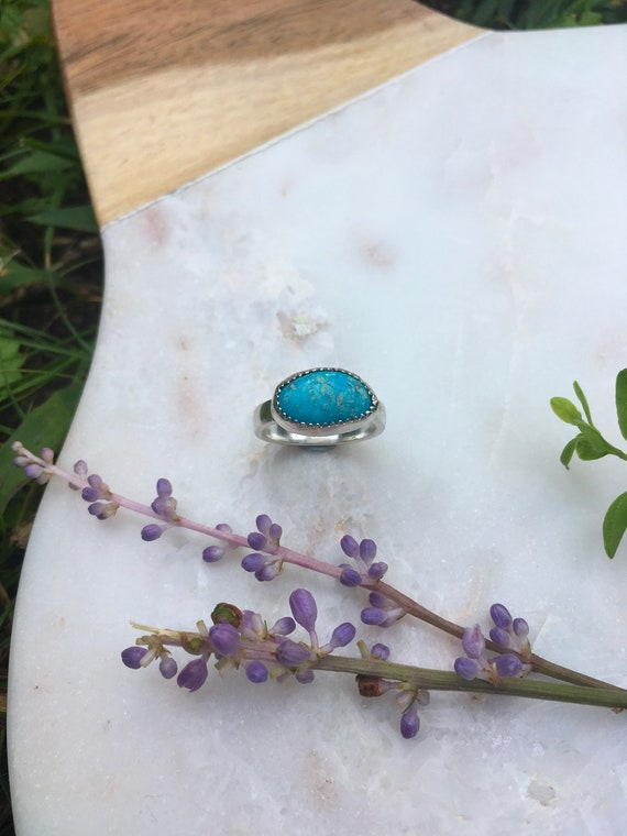 Dainty Blue Collection - Turquoise Handcrafted Sterling Silver Ring, Size 5