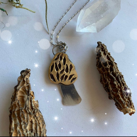 Morel Amulet Necklace, Mushrooms, handmade, Mixed Metals