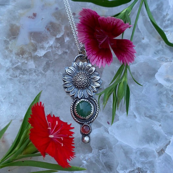 Sunshine Tournesol, handcrafted sterling silver necklace, Garnet, Nephrite Jade