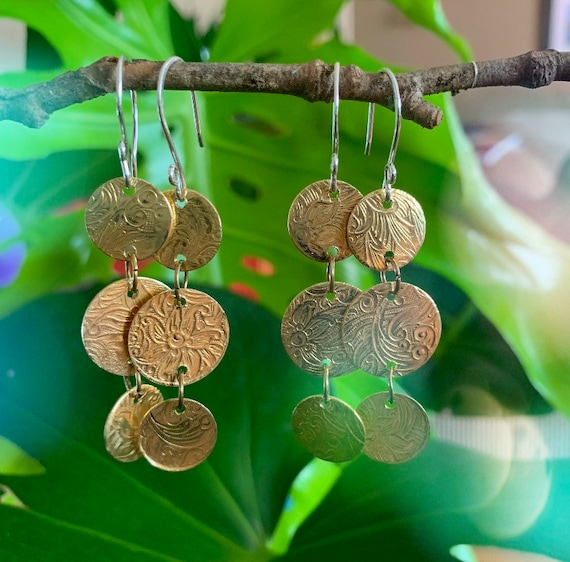 Drops of Jupiter //Brass Dangle Earrings // Handmade // Medallion Earrings