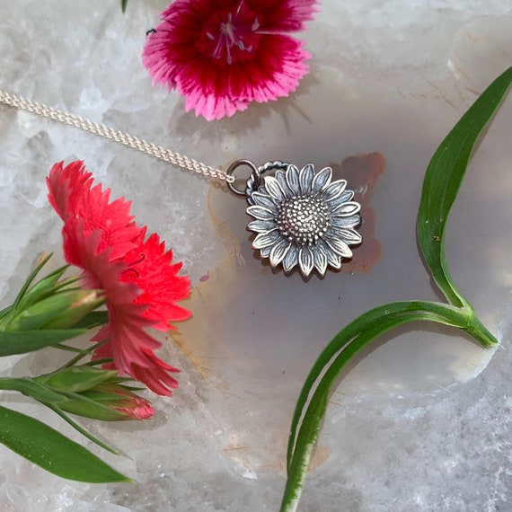 Tournesol Necklace, handcrafted; sterling silver, sunflower necklace