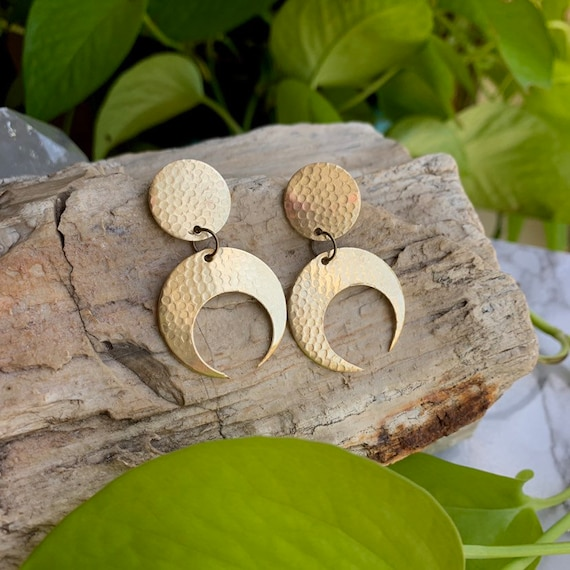 MOON Earrings // Summer Moon // Brass Earrings