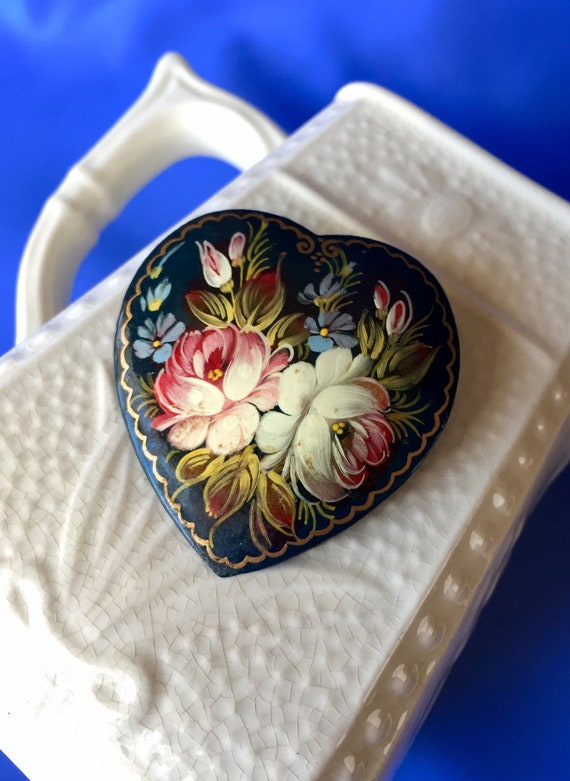 Vintage Russian Heart Shaped Hand Painted Lacquer