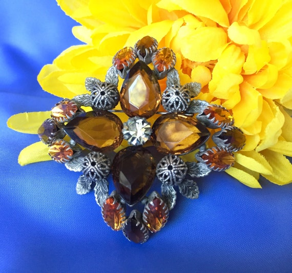 Vintage Signed Joan Rivers Topaz and Amber Rhinest
