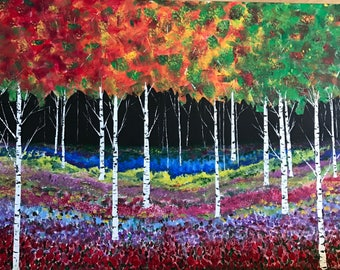 Birches and Roses 40 x 30""
