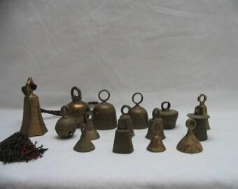 Small Brass Bells India Bells of Sarna Lot Of 15